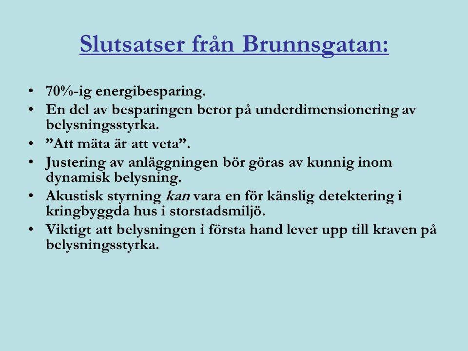 Slutsatser från Brunnsgatan: •70%-ig energibesparing.