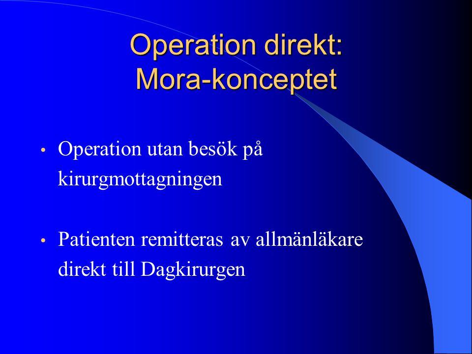 • Operation utan besök på kirurgmottagningen • Patienten remitteras av allmänläkare direkt till Dagkirurgen