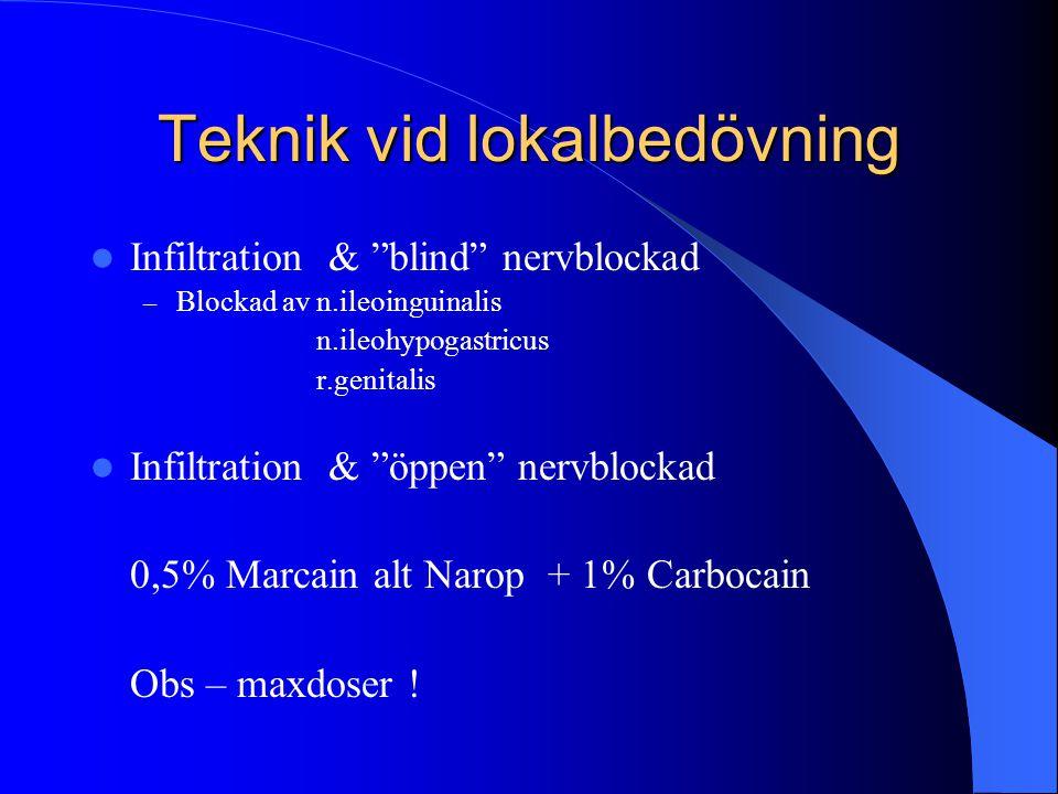 "Teknik vid lokalbedövning  Infiltration & ""blind"" nervblockad – Blockad av n.ileoinguinalis n.ileohypogastricus r.genitalis  Infiltration & ""öppen"""