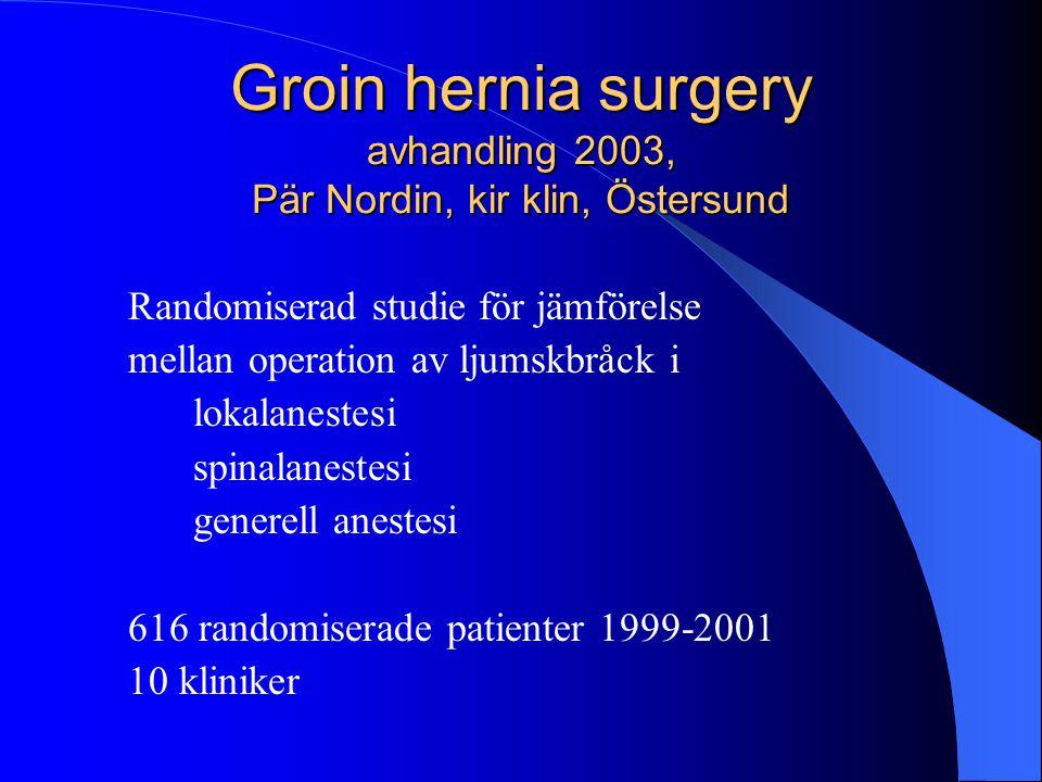 Groin hernia surgery avhandling 2003, Pär Nordin, kir klin, Östersund Randomiserad studie för jämförelse mellan operation av ljumskbråck i lokalaneste