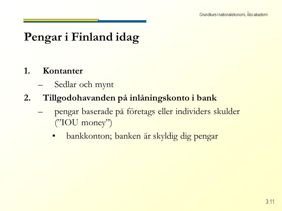 Grundkurs i nationalekonomi, Åbo akademi 3.11 Pengar i Finland idag 1.Kontanter –Sedlar och mynt 2.Tillgodohavanden på inlåningskonto i bank –pengar b