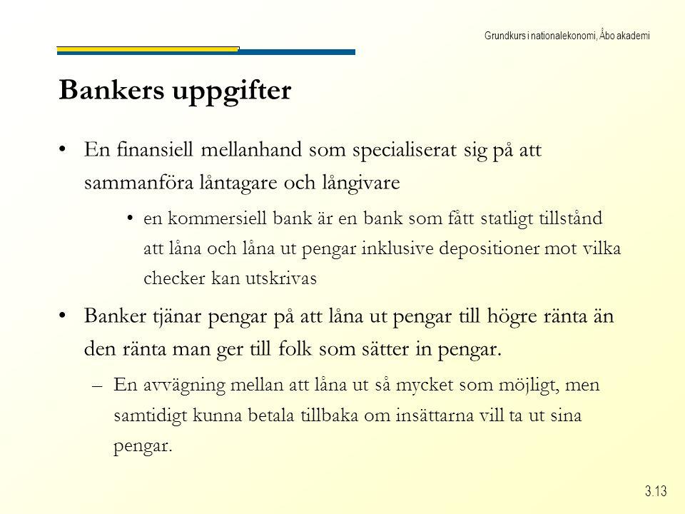 Grundkurs i nationalekonomi, Åbo akademi 3.13 Bankers uppgifter •En finansiell mellanhand som specialiserat sig på att sammanföra låntagare och långiv