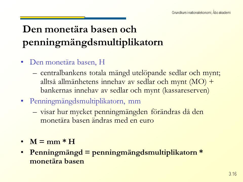Grundkurs i nationalekonomi, Åbo akademi 3.16 Den monetära basen och penningmängdsmultiplikatorn •Den monetära basen, H –centralbankens totala mängd u