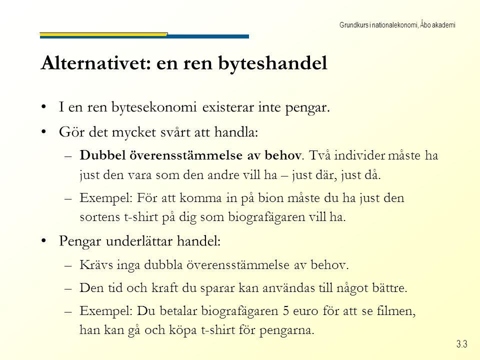 Grundkurs i nationalekonomi, Åbo akademi 3.3 Alternativet: en ren byteshandel •I en ren bytesekonomi existerar inte pengar. •Gör det mycket svårt att