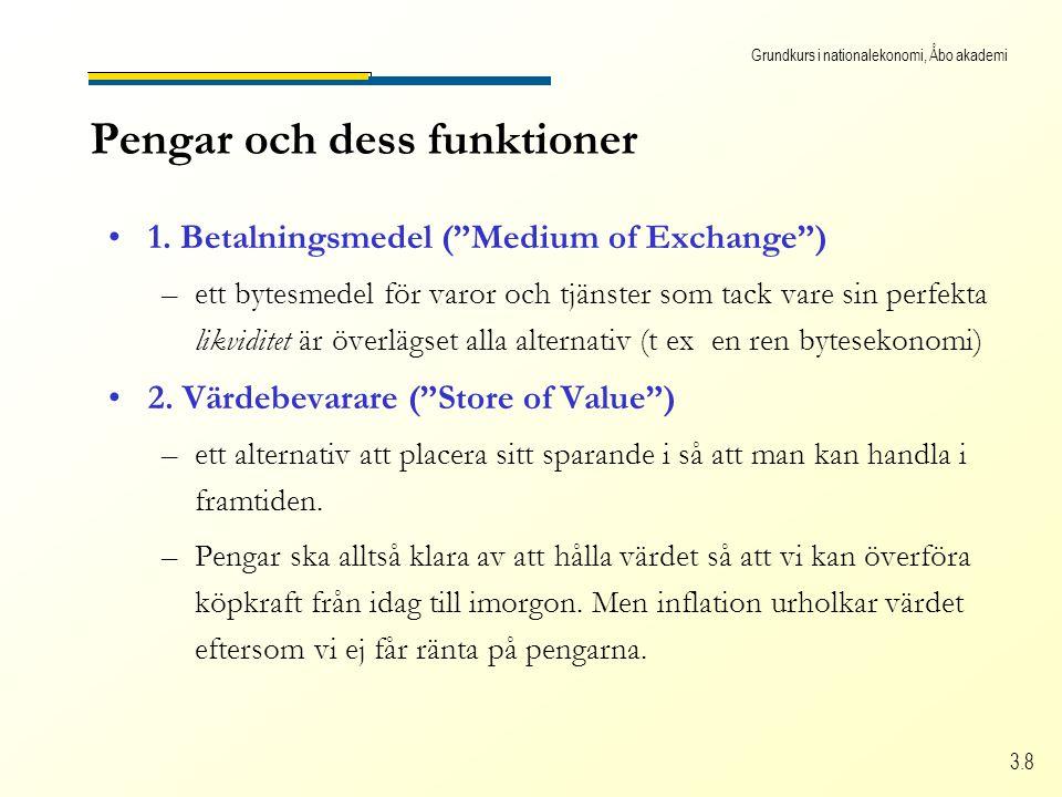 """Grundkurs i nationalekonomi, Åbo akademi 3.8 Pengar och dess funktioner •1. Betalningsmedel (""""Medium of Exchange"""") –ett bytesmedel för varor och tjäns"""