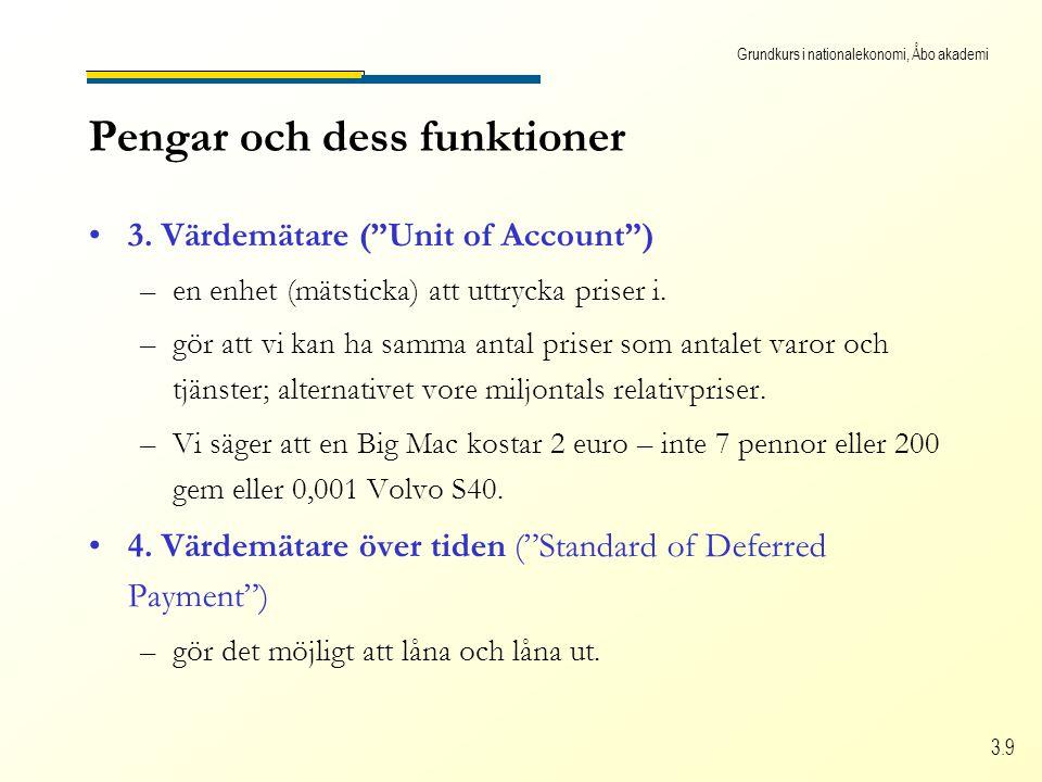 """Grundkurs i nationalekonomi, Åbo akademi 3.9 Pengar och dess funktioner •3. Värdemätare (""""Unit of Account"""") –en enhet (mätsticka) att uttrycka priser"""