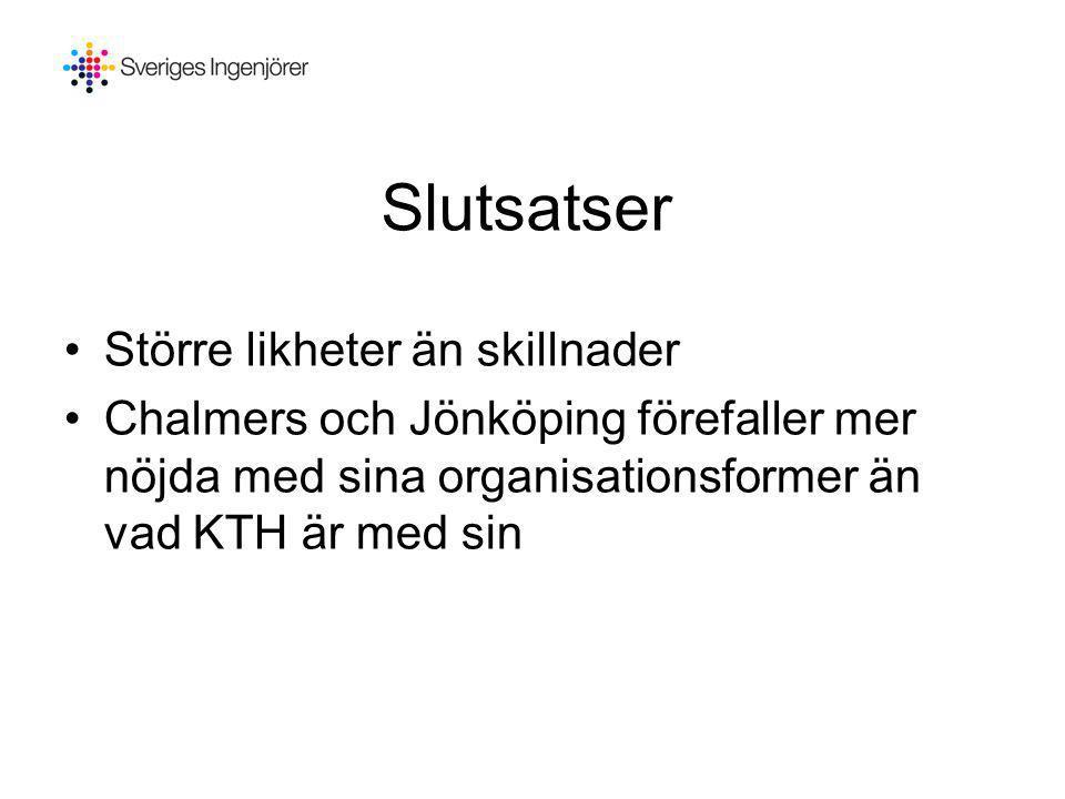 Slutsatser •Större likheter än skillnader •Chalmers och Jönköping förefaller mer nöjda med sina organisationsformer än vad KTH är med sin