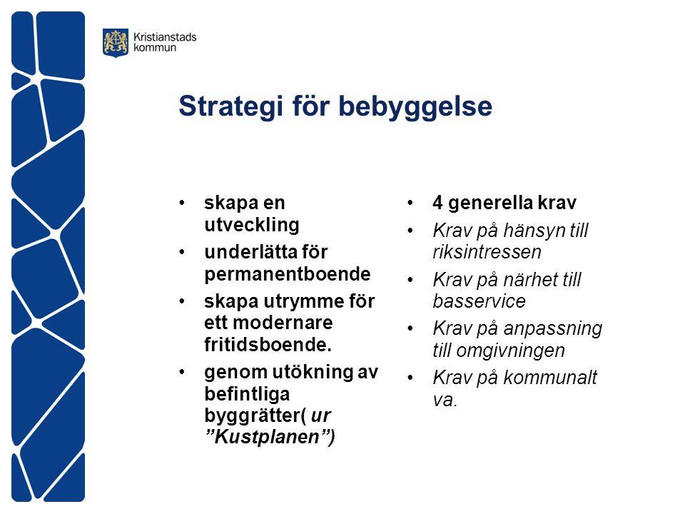 Strategi för bebyggelse •skapa en utveckling •underlätta för permanentboende •skapa utrymme för ett modernare fritidsboende.