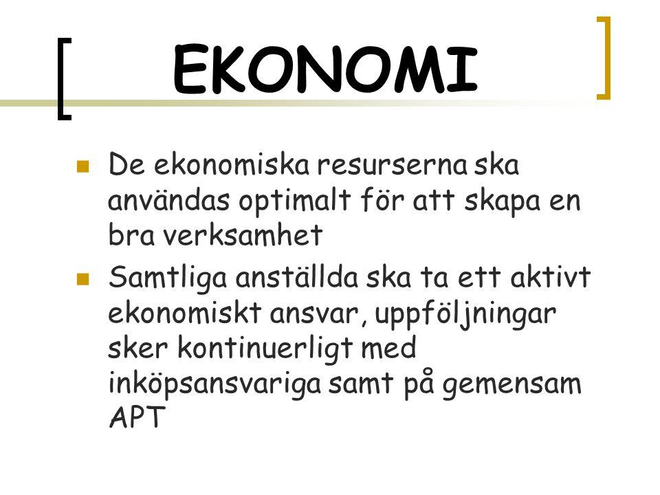 EKONOMI  De ekonomiska resurserna ska användas optimalt för att skapa en bra verksamhet  Samtliga anställda ska ta ett aktivt ekonomiskt ansvar, uppföljningar sker kontinuerligt med inköpsansvariga samt på gemensam APT