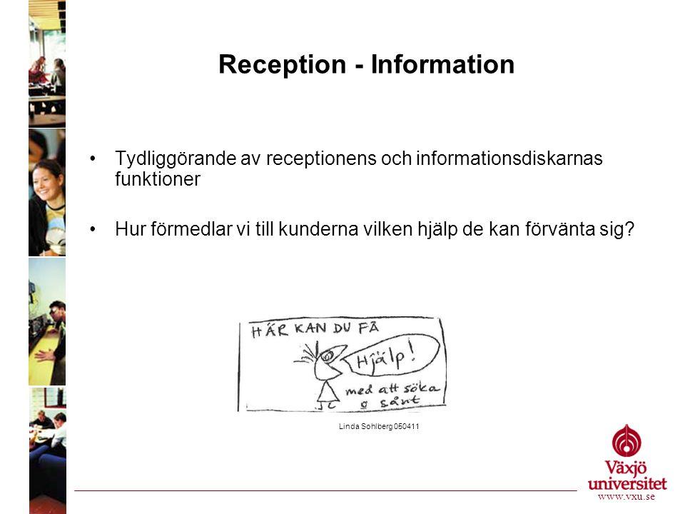 Reception - Information •Tydliggörande av receptionens och informationsdiskarnas funktioner •Hur förmedlar vi till kunderna vilken hjälp de kan förvänta sig.
