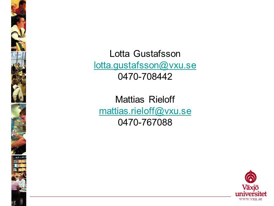 Lotta Gustafsson lotta.gustafsson@vxu.se 0470-708442 Mattias Rieloff mattias.rieloff@vxu.se 0470-767088 lotta.gustafsson@vxu.se mattias.rieloff@vxu.se www.vxu.se