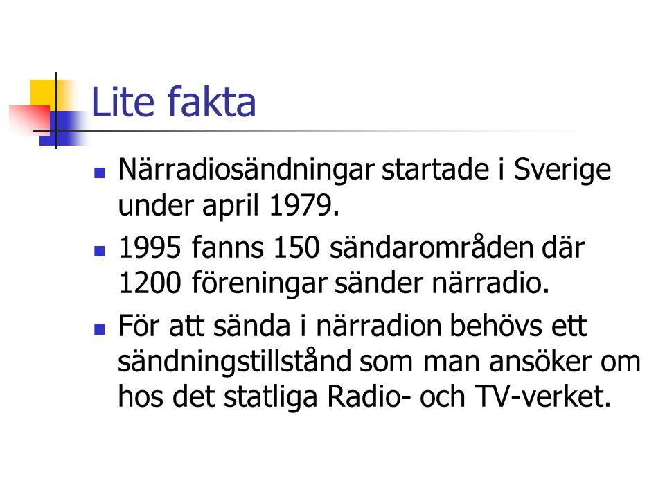 Lite fakta  Närradiosändningar startade i Sverige under april 1979.