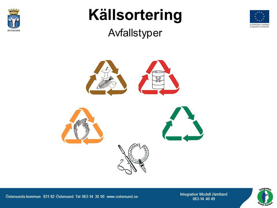 Östersunds kommun 831 82 Östersund Tel 063-14 30 00 www.ostersund.se Integration Modell Jämtland 063-14 40 49 Källsortering Avfallstyper