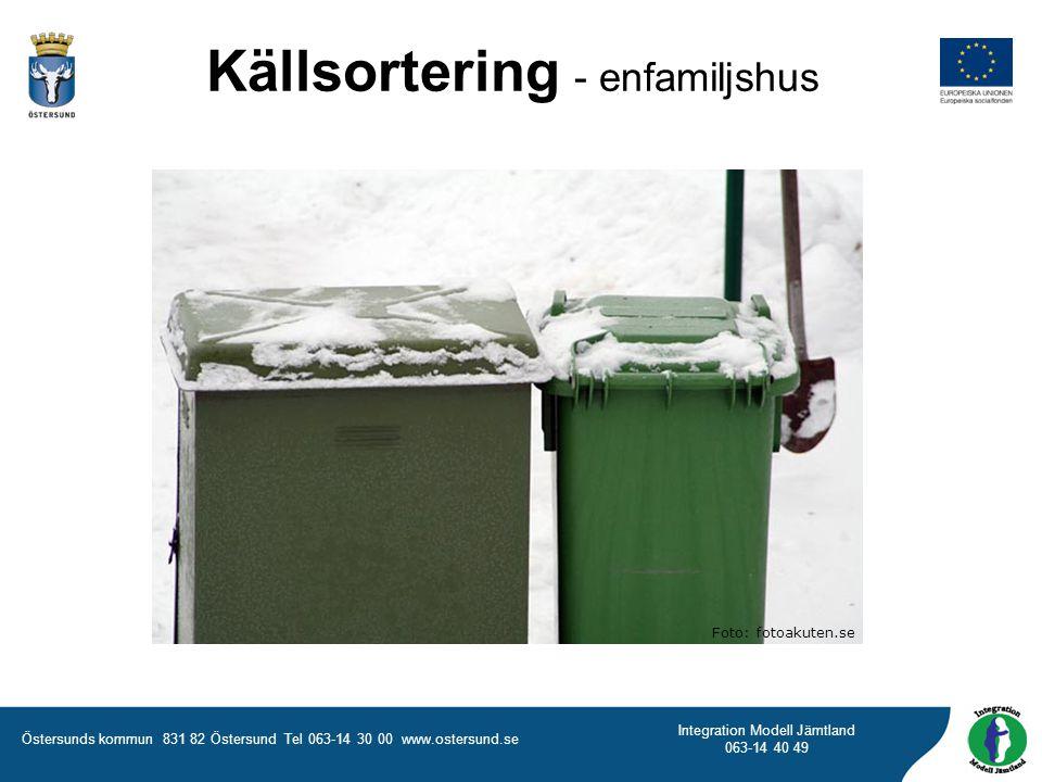 Östersunds kommun 831 82 Östersund Tel 063-14 30 00 www.ostersund.se Integration Modell Jämtland 063-14 40 49 Källsortering - enfamiljshus Foto: fotoa