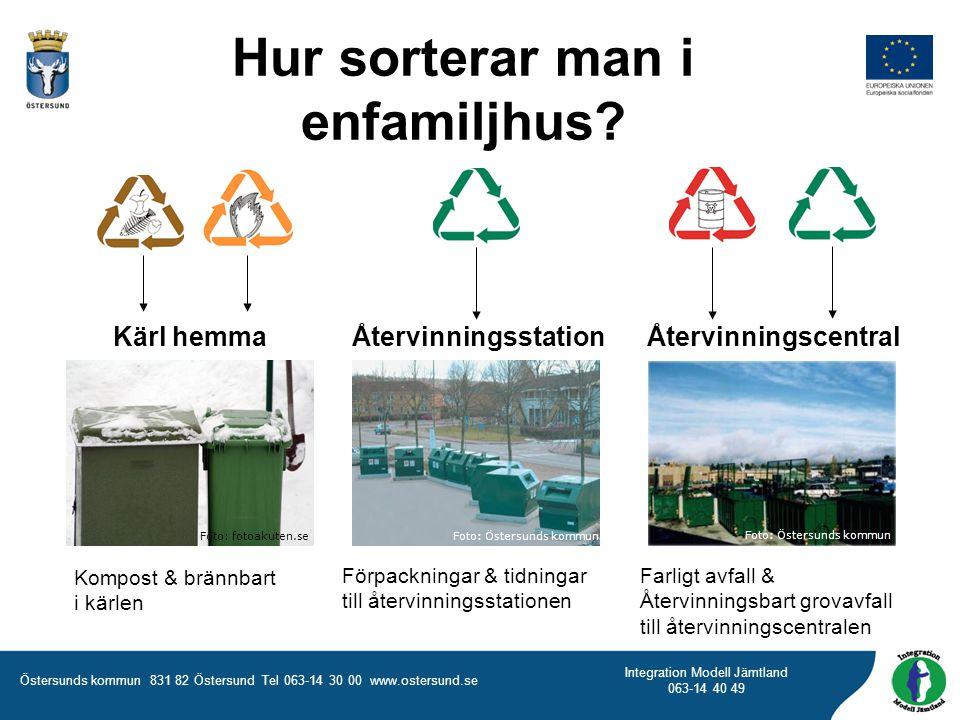 Östersunds kommun 831 82 Östersund Tel 063-14 30 00 www.ostersund.se Integration Modell Jämtland 063-14 40 49 Kompost & brännbart i kärlen Förpackning
