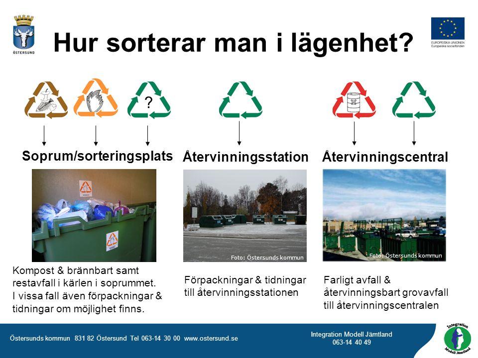 Östersunds kommun 831 82 Östersund Tel 063-14 30 00 www.ostersund.se Integration Modell Jämtland 063-14 40 49 Kompost & brännbart samt restavfall i kä
