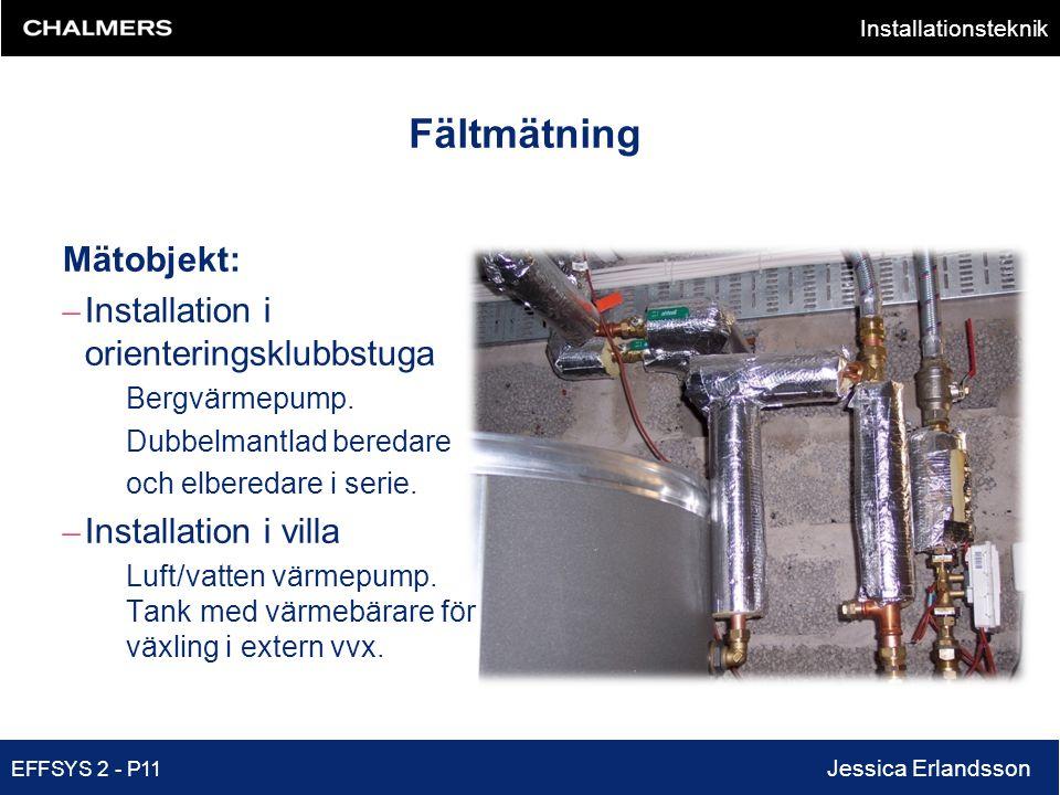 Installationsteknik EFFSYS 2 - P11 Jessica Erlandsson Fältmätning Mätobjekt: – Installation i orienteringsklubbstuga Bergvärmepump. Dubbelmantlad bere