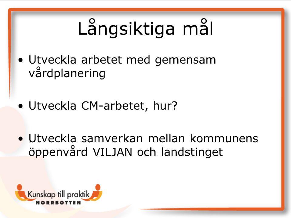 Långsiktiga mål •Utveckla arbetet med gemensam vårdplanering •Utveckla CM-arbetet, hur? •Utveckla samverkan mellan kommunens öppenvård VILJAN och land