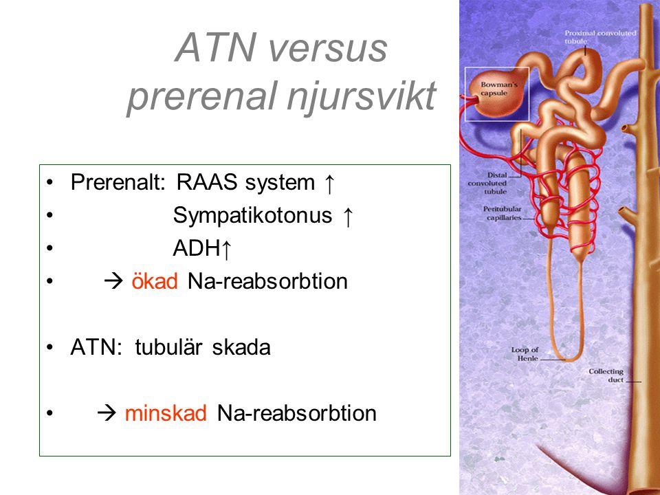ATN versus prerenal njursvikt •Prerenalt: RAAS system ↑ • Sympatikotonus ↑ • ADH↑ •  ökad Na-reabsorbtion •ATN: tubulär skada •  minskad Na-reabsorb