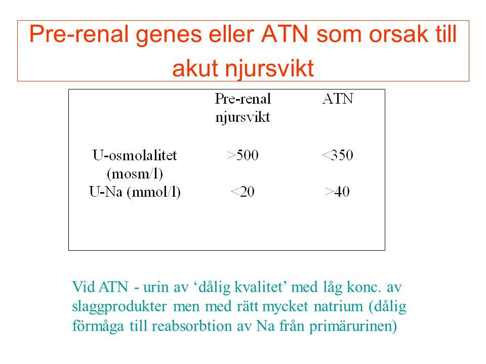 Pre-renal genes eller ATN som orsak till akut njursvikt Vid ATN - urin av 'dålig kvalitet' med låg konc. av slaggprodukter men med rätt mycket natrium
