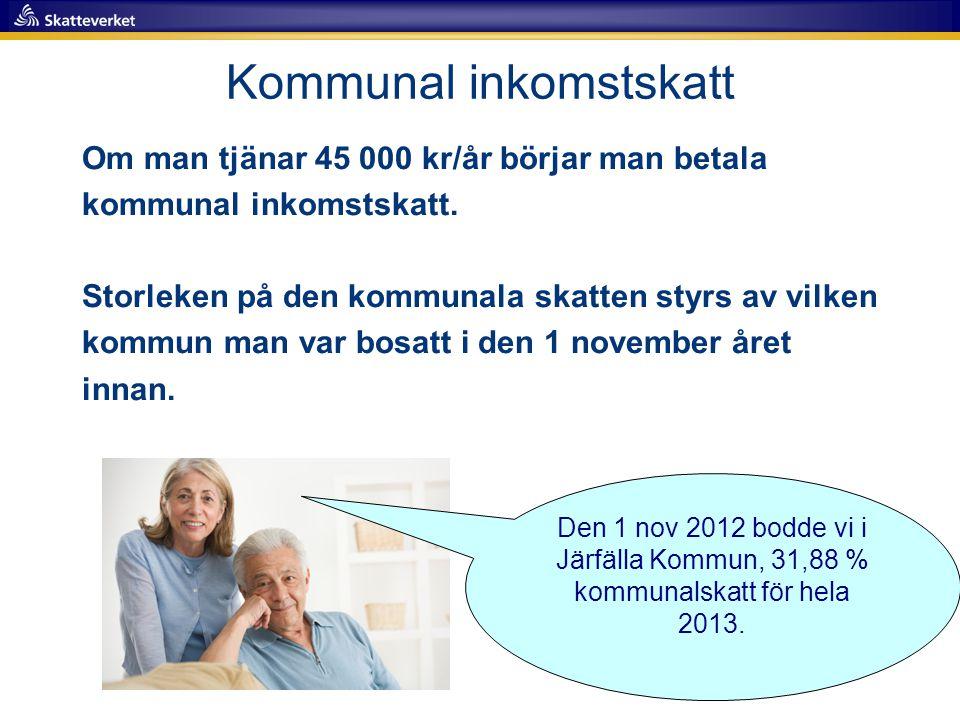 Kommunal inkomstskatt Om man tjänar 45 000 kr/år börjar man betala kommunal inkomstskatt.