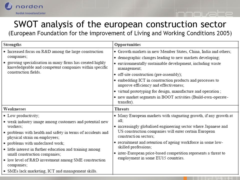 SWOT analysis of the european construction sector (European Foundation for the improvement of Living and Working Conditions 2005)