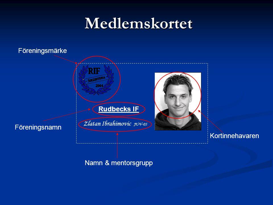 Medlemskortet Zlatan Ibrahimovic JUV-05 Rudbecks IF Föreningsmärke Kortinnehavaren Namn & mentorsgrupp Föreningsnamn