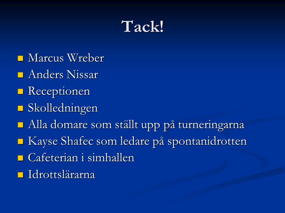 Tack!  Marcus Wreber  Anders Nissar  Receptionen  Skolledningen  Alla domare som ställt upp på turneringarna  Kayse Shafec som ledare på spontan