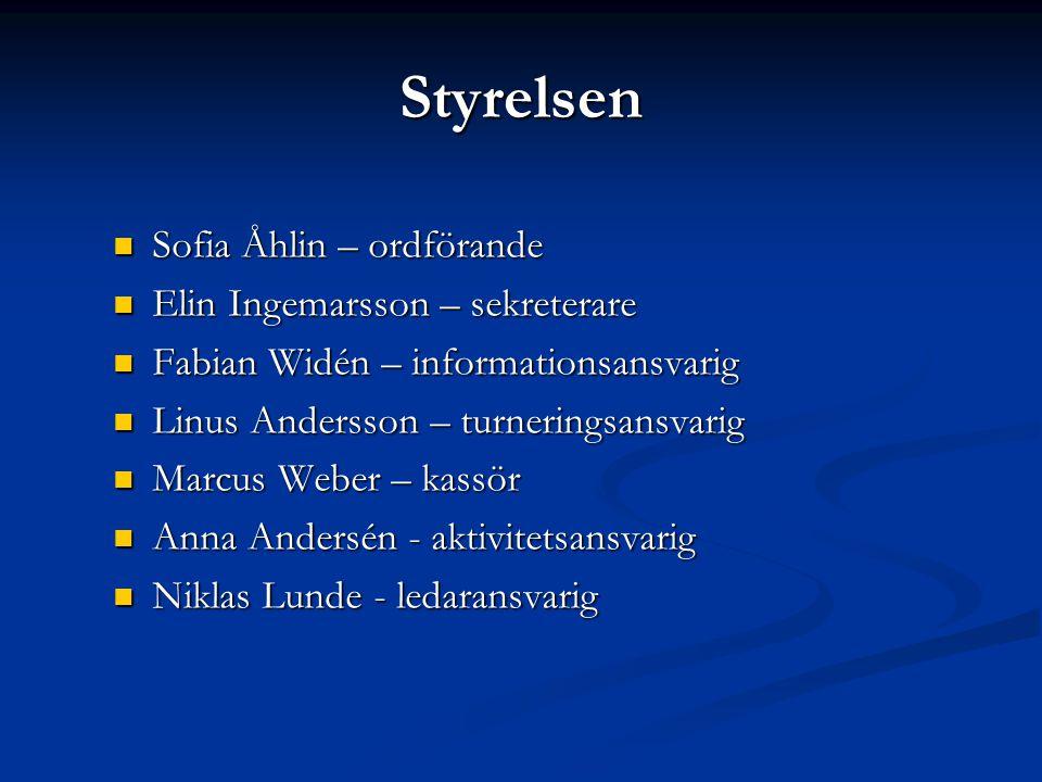 Styrelsen  Sofia Åhlin – ordförande  Elin Ingemarsson – sekreterare  Fabian Widén – informationsansvarig  Linus Andersson – turneringsansvarig  M