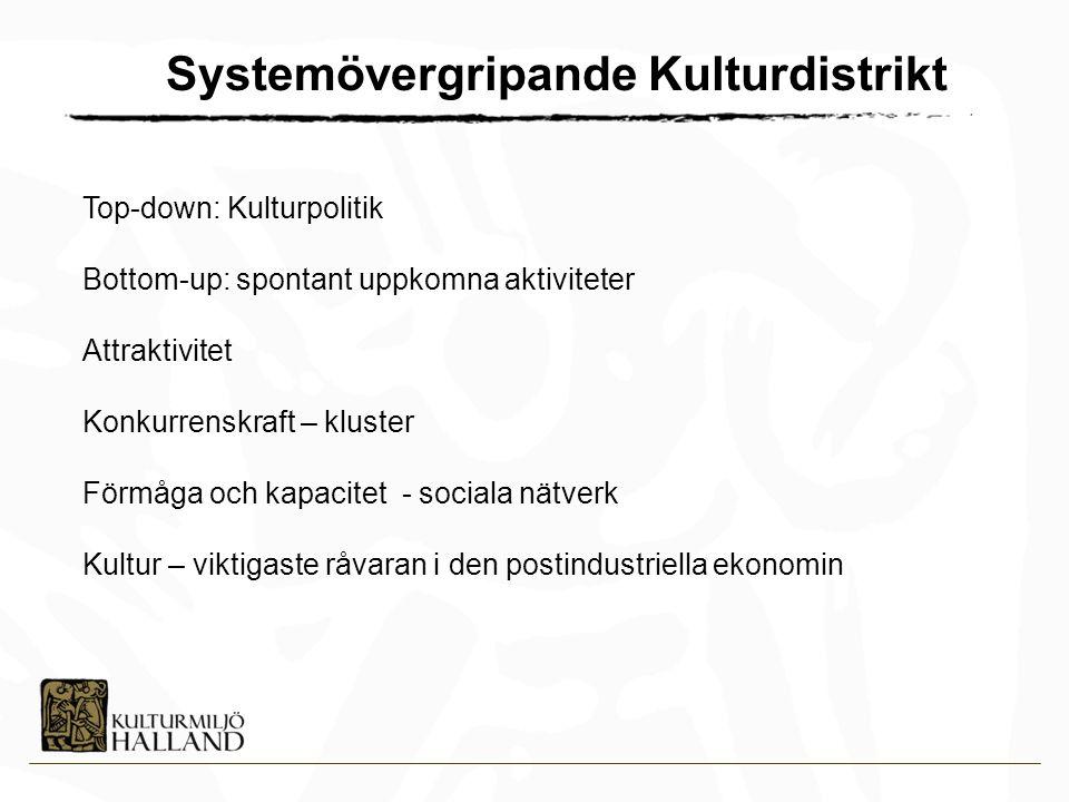 Top-down: Kulturpolitik Bottom-up: spontant uppkomna aktiviteter Attraktivitet Konkurrenskraft – kluster Förmåga och kapacitet - sociala nätverk Kultur – viktigaste råvaran i den postindustriella ekonomin Systemövergripande Kulturdistrikt
