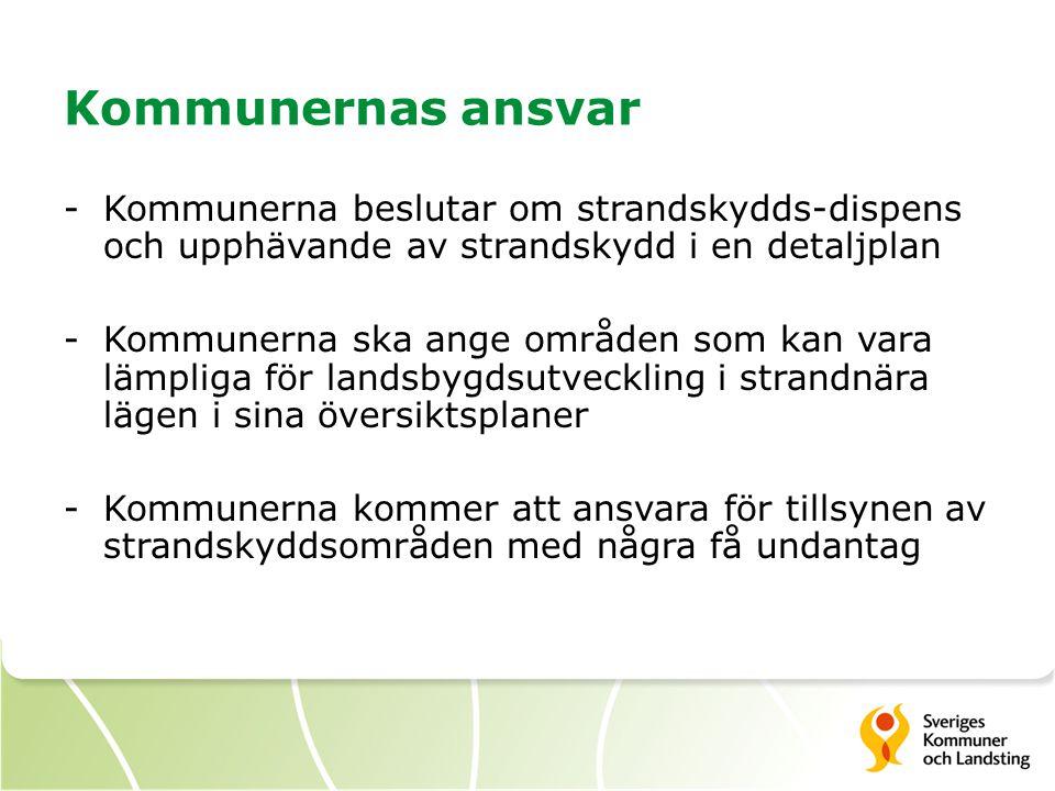 Kommunernas ansvar -Kommunerna beslutar om strandskydds-dispens och upphävande av strandskydd i en detaljplan -Kommunerna ska ange områden som kan var