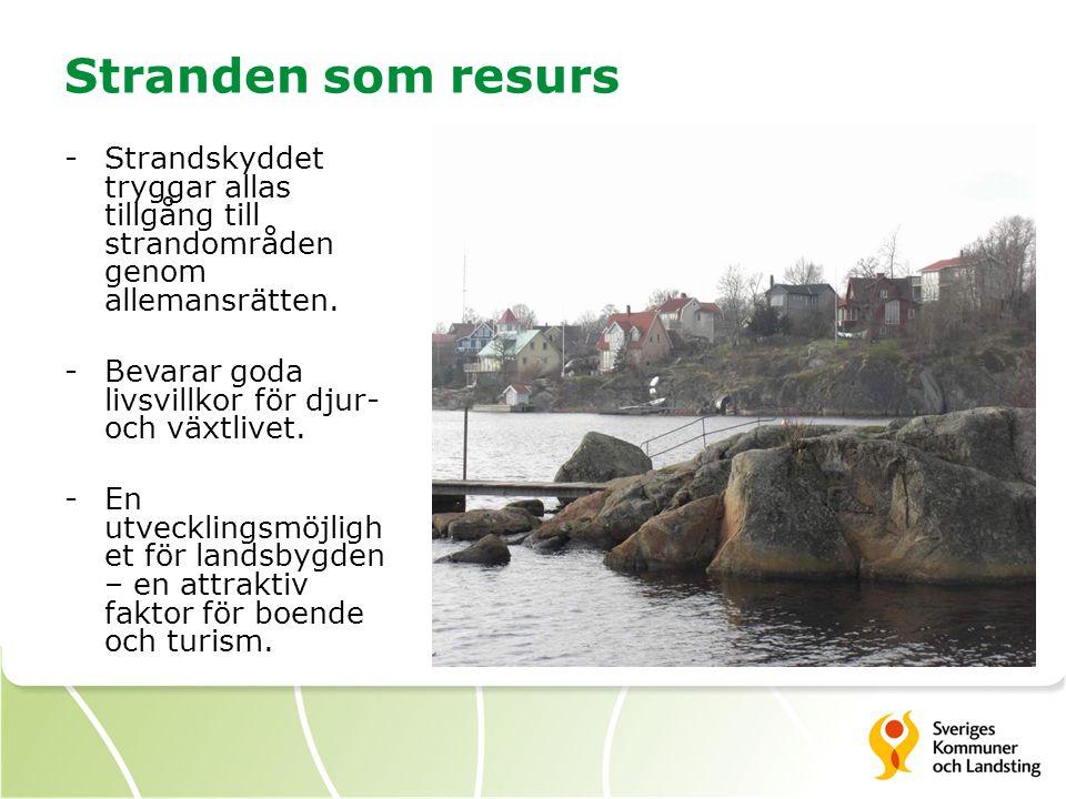 Stranden som resurs -Strandskyddet tryggar allas tillgång till strandområden genom allemansrätten. -Bevarar goda livsvillkor för djur- och växtlivet.