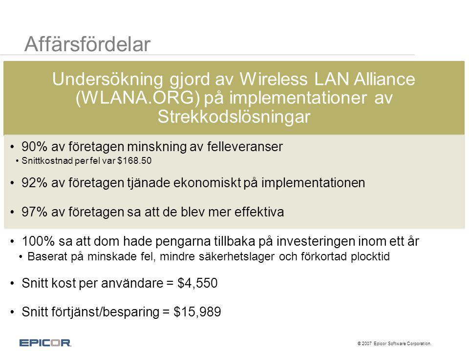 Affärsfördelar Undersökning gjord av Wireless LAN Alliance (WLANA.ORG) på implementationer av Strekkodslösningar •90% av företagen minskning av fellev