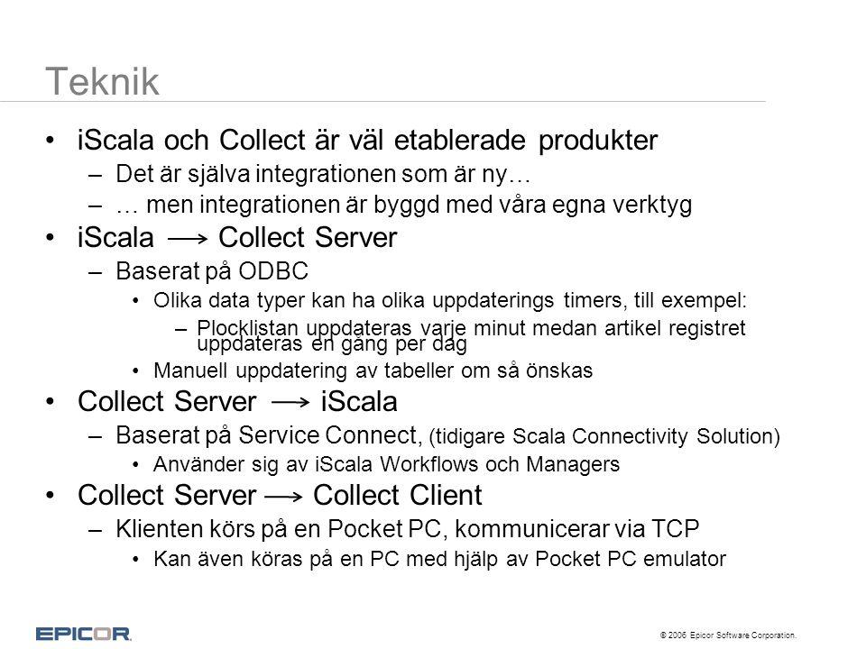 © 2006 Epicor Software Corporation. Teknik •iScala och Collect är väl etablerade produkter –Det är själva integrationen som är ny… –… men integratione
