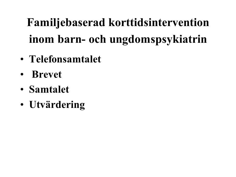 Familjebaserad korttidsintervention inom barn- och ungdomspsykiatrin •Telefonsamtalet • Brevet •Samtalet •Utvärdering