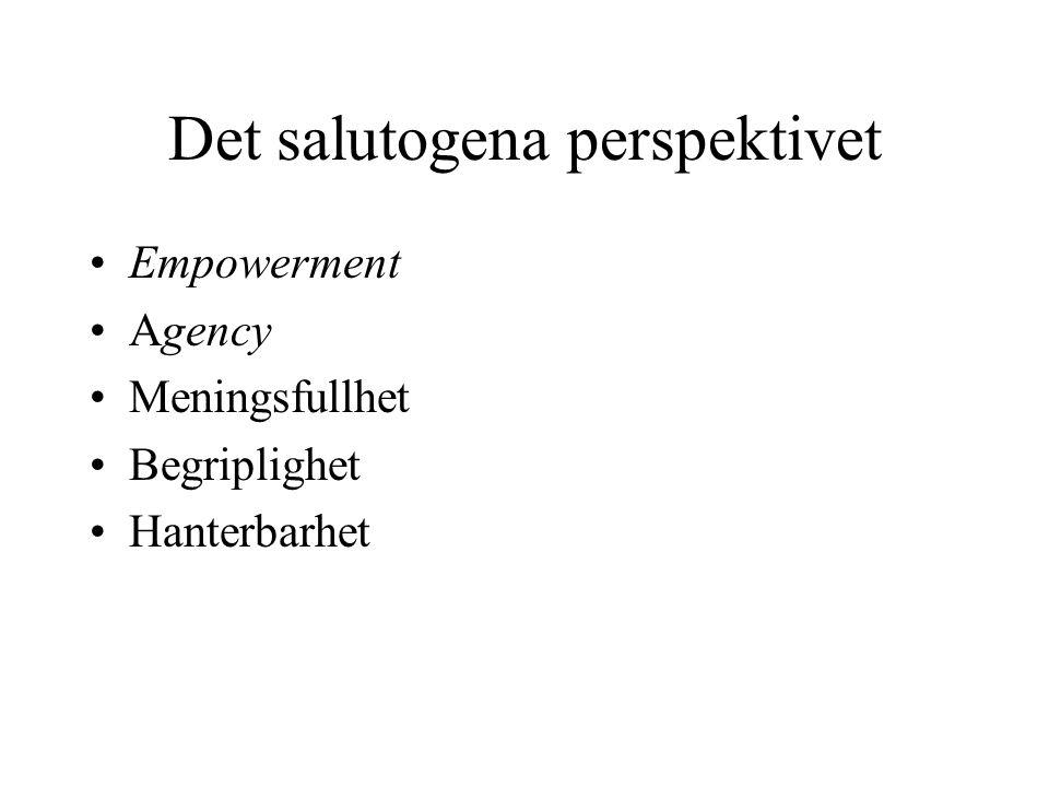 Det salutogena perspektivet •Empowerment •Agency •Meningsfullhet •Begriplighet •Hanterbarhet