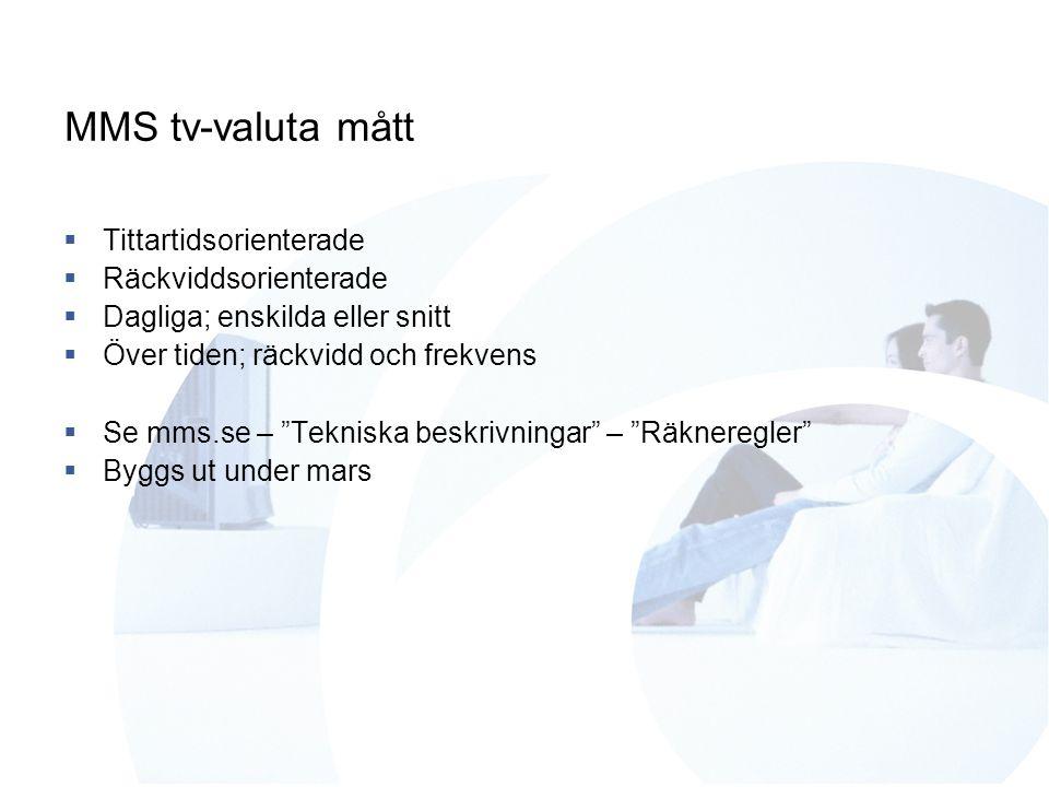 MMS tv-valuta mått  Tittartidsorienterade  Räckviddsorienterade  Dagliga; enskilda eller snitt  Över tiden; räckvidd och frekvens  Se mms.se – Tekniska beskrivningar – Räkneregler  Byggs ut under mars