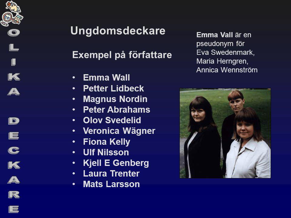 Ungdomsdeckare Exempel på författare •Emma Wall •Petter Lidbeck •Magnus Nordin •Peter Abrahams •Olov Svedelid •Veronica Wägner •Fiona Kelly •Ulf Nilss