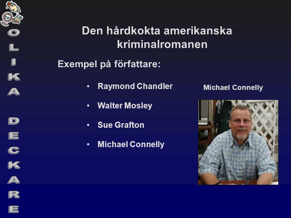 Den hårdkokta amerikanska kriminalromanen Exempel på författare: •Raymond Chandler •Walter Mosley •Sue Grafton •Michael Connelly Michael Connelly