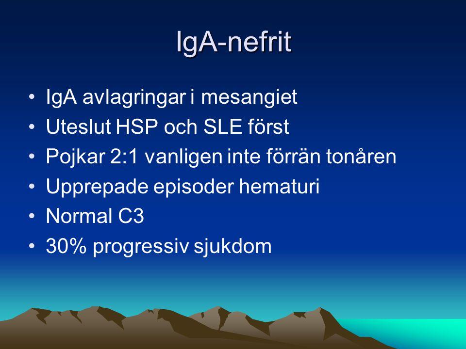 IgA-nefrit •IgA avlagringar i mesangiet •Uteslut HSP och SLE först •Pojkar 2:1 vanligen inte förrän tonåren •Upprepade episoder hematuri •Normal C3 •30% progressiv sjukdom