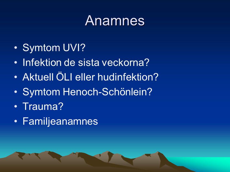 Anamnes •Symtom UVI.•Infektion de sista veckorna.