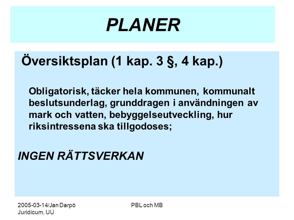 2005-03-14/Jan Darpö Juridicum, UU PBL och MB PLANER Översiktsplan (1 kap.