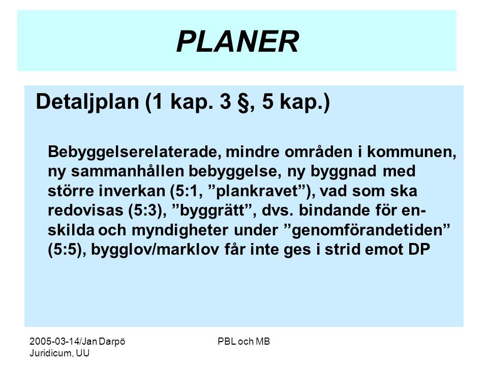 2005-03-14/Jan Darpö Juridicum, UU PBL och MB PLANER Detaljplan (1 kap.