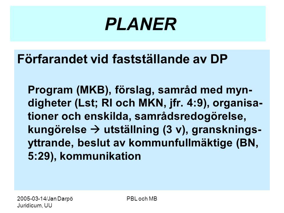 2005-03-14/Jan Darpö Juridicum, UU PBL och MB PLANER Förfarandet vid fastställande av DP Program (MKB), förslag, samråd med myn- digheter (Lst; RI och MKN, jfr.