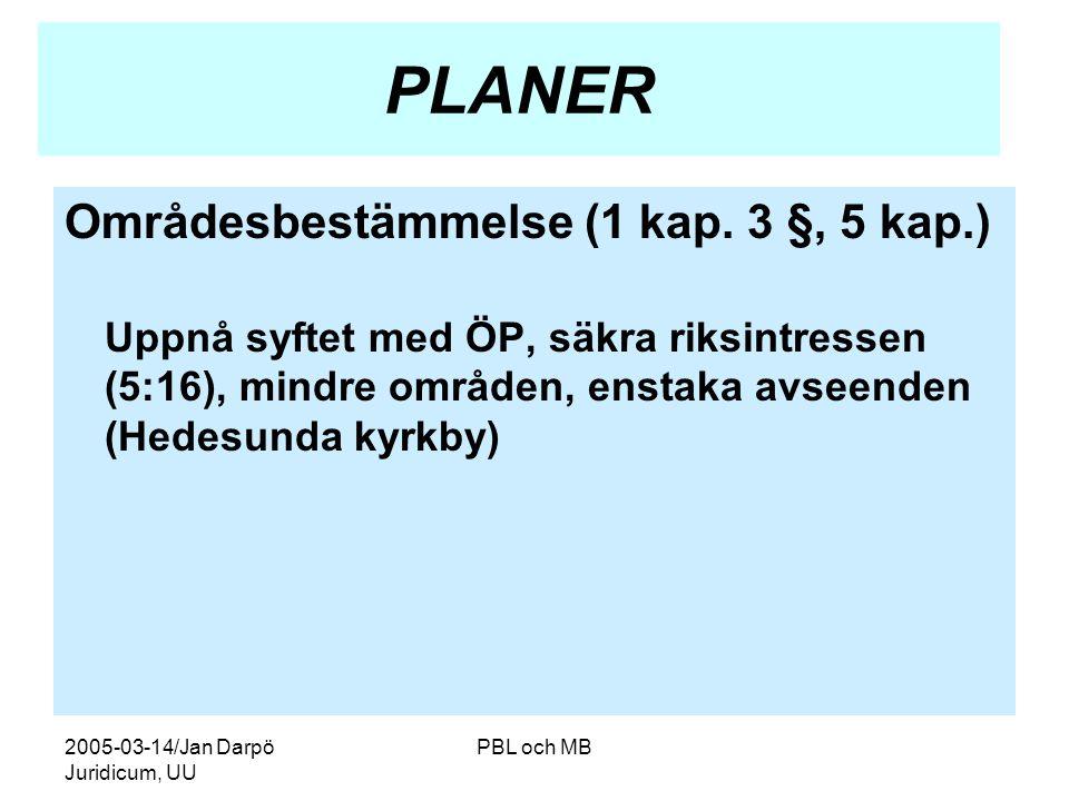 2005-03-14/Jan Darpö Juridicum, UU PBL och MB PLANER Områdesbestämmelse (1 kap.