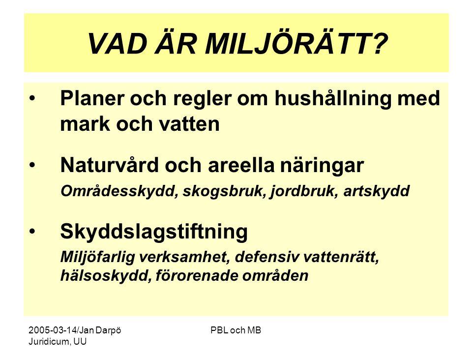 2005-03-14/Jan Darpö Juridicum, UU PBL och MB VAD ÄR MILJÖRÄTT.