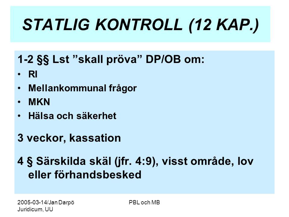 2005-03-14/Jan Darpö Juridicum, UU PBL och MB STATLIG KONTROLL (12 KAP.) 1-2 §§ Lst skall pröva DP/OB om: •RI •Mellankommunal frågor •MKN •Hälsa och säkerhet 3 veckor, kassation 4 § Särskilda skäl (jfr.