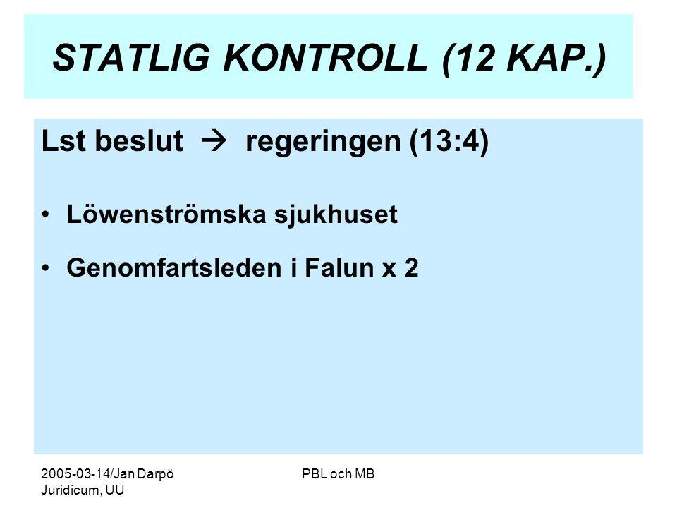 2005-03-14/Jan Darpö Juridicum, UU PBL och MB STATLIG KONTROLL (12 KAP.) Lst beslut  regeringen (13:4) •Löwenströmska sjukhuset •Genomfartsleden i Falun x 2