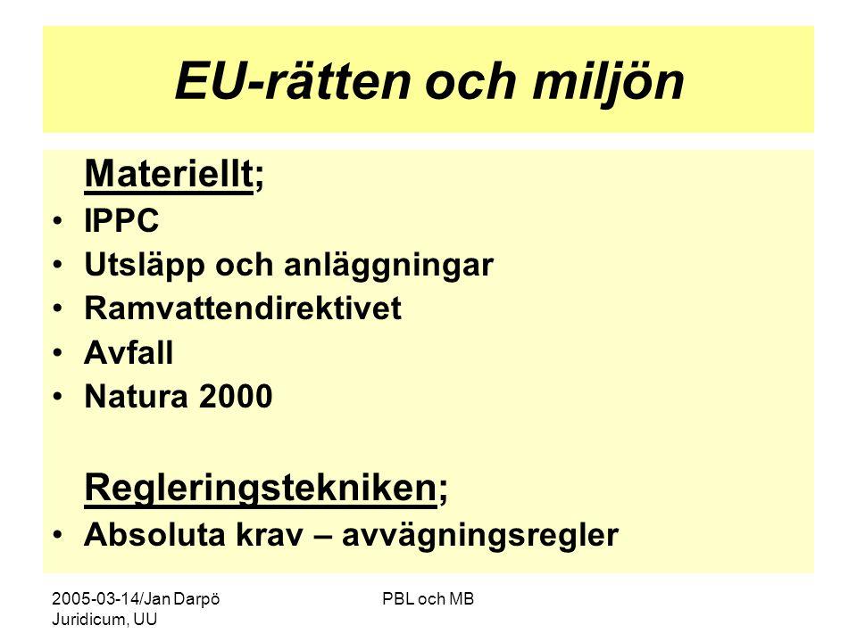2005-03-14/Jan Darpö Juridicum, UU PBL och MB EU-rätten och miljön Materiellt; •IPPC •Utsläpp och anläggningar •Ramvattendirektivet •Avfall •Natura 2000 Regleringstekniken; •Absoluta krav – avvägningsregler