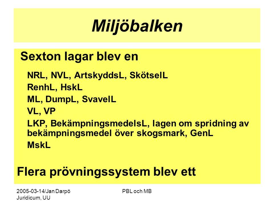 2005-03-14/Jan Darpö Juridicum, UU PBL och MB Miljöbalken Sexton lagar blev en NRL, NVL, ArtskyddsL, SkötselL RenhL, HskL ML, DumpL, SvavelL VL, VP LKP, BekämpningsmedelsL, lagen om spridning av bekämpningsmedel över skogsmark, GenL MskL Flera prövningssystem blev ett
